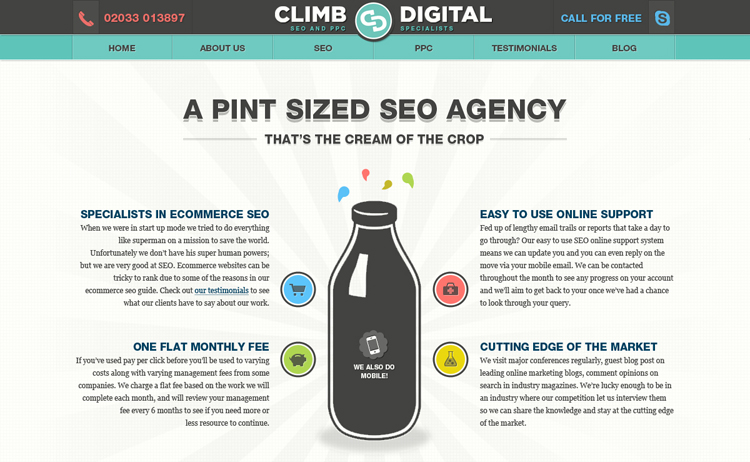 Climb Digital homepage design
